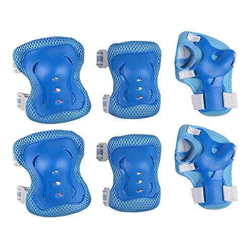 6pcs / set bicicleta de niños patinaje Equipo de Protección Establece la rodilla coderas bicicletas monopatín patinaje de hielo de rodillo de muñeca del protector de la rodilla ( Color : Azul claro )