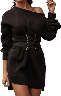 Wadonerful Women Sweatshirt Dress Cold Shoulder Long/Short Sleeve Lace-up Casual Mini Dress Pocket Oudoor Sport Dress