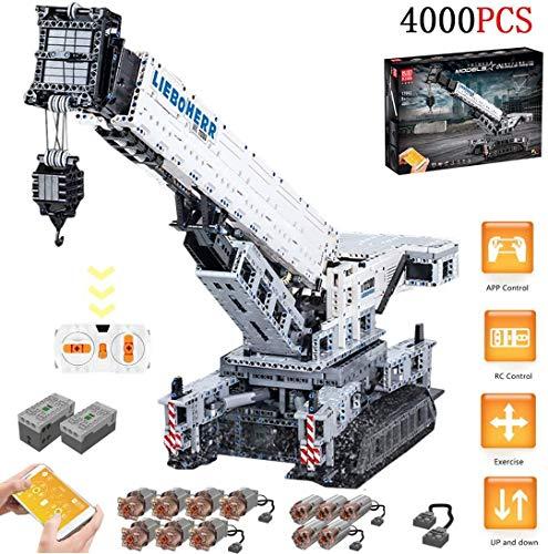 ZKK Technik Liebherr Crawler Crane Building Blocks, 4000 Piezas 2.4G Grúa De Control Remoto LTM-11200, Juguetes De Construcción Avanzados con Motores Y Control Remoto