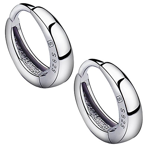 Meixao Fashion Jewelry 925 Sterling Silver Smooth Simple Hoop Stud Earrings for Women/Girl (White)