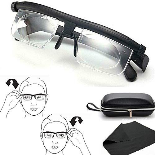 Reading Glasses, Myopia Eyeglasses - 6D to 3D Diopters, Adjustable Strength Lens Eyewear, Variable Focus, Distance Vision Best + Free Case Storage