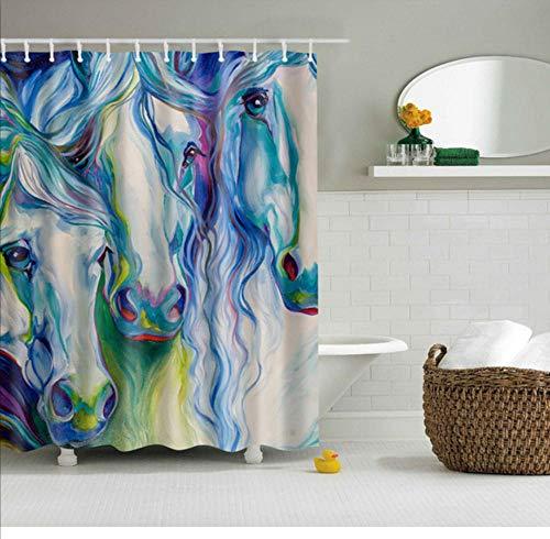 Zbzmm polyester badscherm douchegordijn in de badkamer interieur dier paard afbeeldingen waterdicht en bestand tegen mijten, met 12 haken