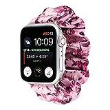 OnederHome Haargummi, elastisch, kompatibel mit Apple Watch Band Frauen Mädchen Stoffhaarband Band für iWatch Serie SE 6 5 4 3 2 1 (Blume, Pink, 38/40 mm für normales/großes Handgelenk)