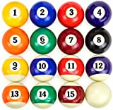 EastPoint Official Regulation Size 2-1/4' Balls Pool Table Billiard Ball Set with 12 Pool Cue Chalk Cubes Kit