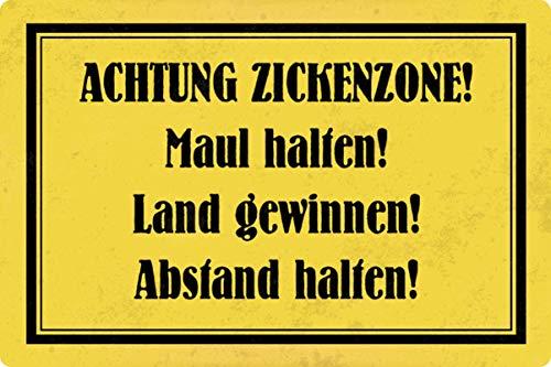 Blechschild 20x30cm gewölbt Achtung Zickenzone Humor Spruch Deko Geschenk Schild