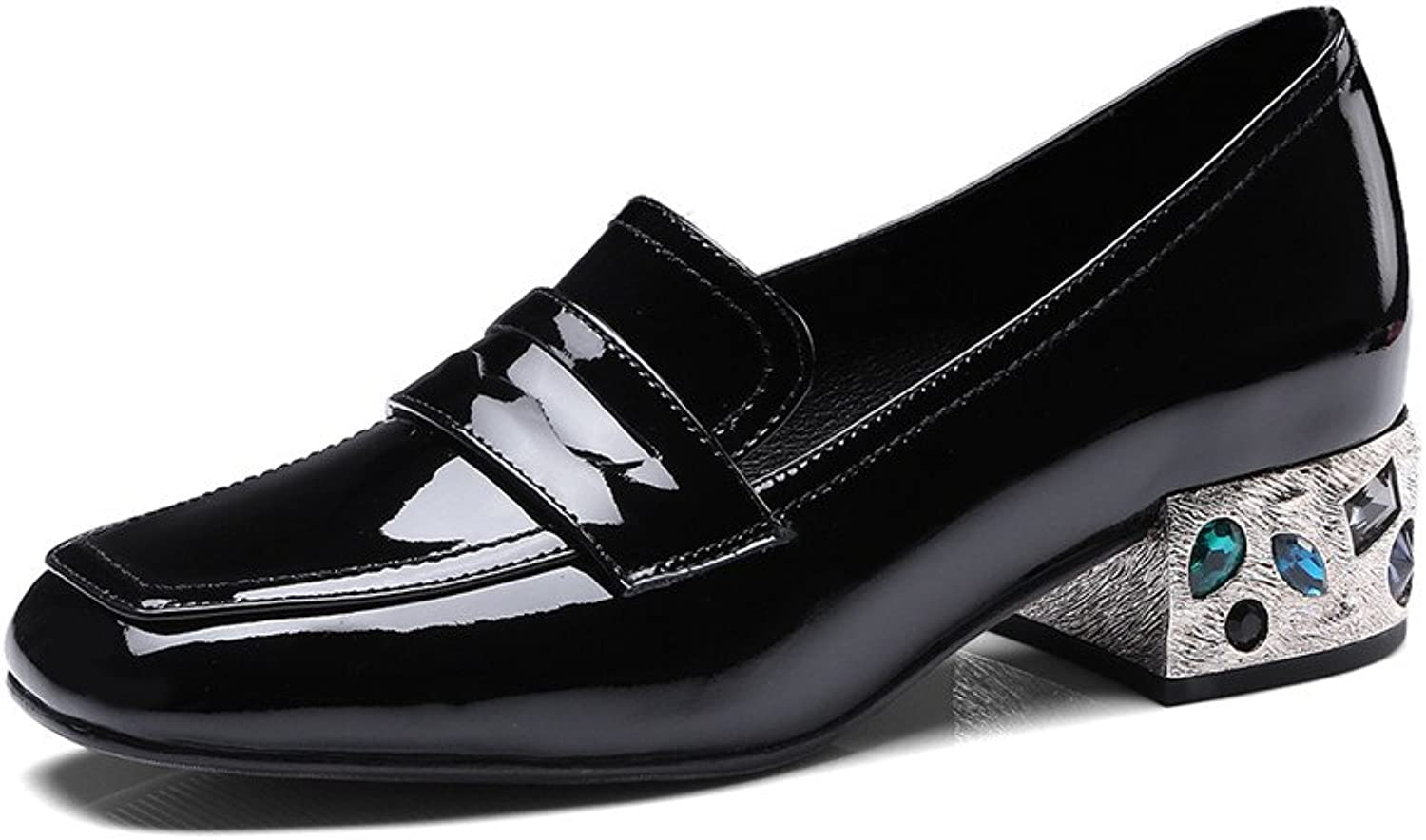 Dulce Diva Patent Leather Rhinestone Chunky Heel Square Toe Slip On Loafers shoes Women