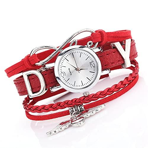 Relojes Relojes para Mujer De Lujo De Plata con Colgante De Corazón, Cinturón De Cuero, Reloj De Cuarzo, Vestido De Mujer, Pulsera, Reloj Rojo