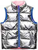 Spotted Zebra Reversible Puffer Vest infant-and-toddler-down-alternative-outerwear-coats, Silver Metallic/Neon Pink, 4T