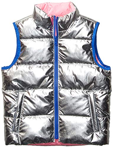 Amazon Brand - Spotted Zebra Kids Girls Reversible Puffer Vest, Silver Metallic/Neon Pink, Small