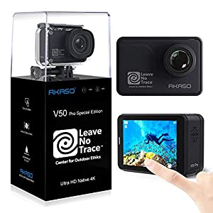 AKASO V50 Pro SE Action Camera, 4K/60fps Touch Screen Waterproof Camera, EIS and Wi-Fi Remote Control Sports Camera with 3 Batteries and Helmet Accessory Kit