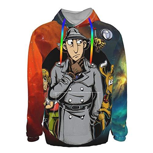 Inspector Gadget Unisex 3D Novelty Hoodies Graphic Print Hoodies Pullover Sweatshirt Pockets Black Medium