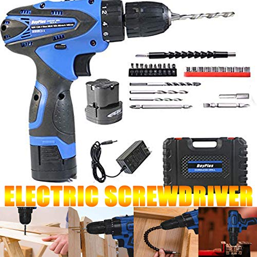 Cordless Screwdriver,Electric Screwdriver,Cordless Drill Combo Kit,16.8V 1500 mAh Li-ion Battery & Fast Charger 2 Variable Speed,3/8' Metal Chuck,LED light 34Pcs Accessories with Carry Case