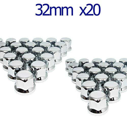 MGF 20 Stück 32 mm Chrom-Kunststoff-Radmuttern Abdeckungen für LKW Anhänger