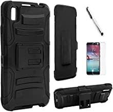 LG Tribute HD LS676 / LG X Style L56VL L53BG Case, Luckiefind Dual Layer Hybrid Side Kickstand Cover Case With Holster Cli...