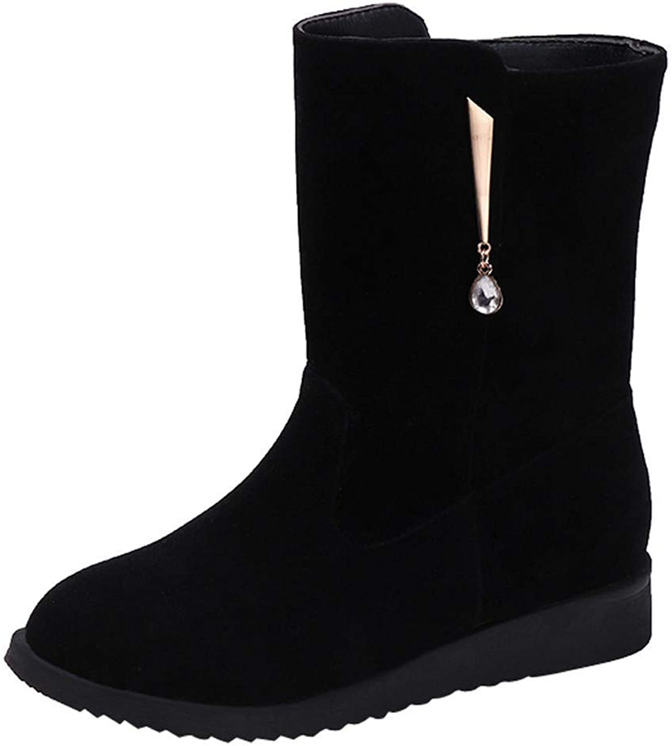 A-LING Women Middle Tube Suede Martin Boots shoes Zipper Boot