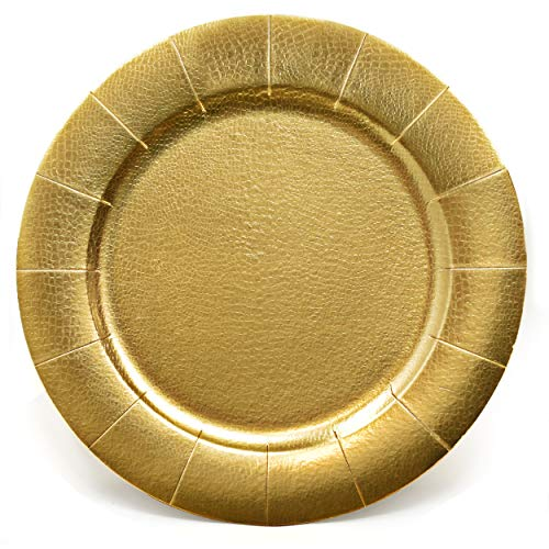 24 Disposable Gold Round Charger Plates 13' Dinner Table Serving Tray Heavy Duty Reusable Paper Cardboard Platters for Table Setting, Place Mats, Cupcake, Dessert, Birthday Parties, Weddings Food Safe