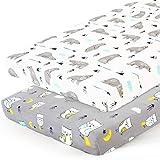 Stretchy-Pack-n-Play-Playard-Sheets-Brolex 2 Pack Portable Mini Crib Sheets,Convertible Playard Mattress Cover for Baby Boys Gilrs,Ultra Soft Jersey Knit,Owl & Bear