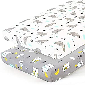 Stretchy-Pack-n-Play-Playard-Sheets-Brolex 2 Pack Portable Mini Crib Sheets,Convertible Playard Mattress Cover for Baby Boys Gilrs,Ultra Soft Jersey Knit,Owl & Bear