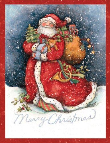 LANG -'Merry Santa', Boxed Christmas Cards, Artwork by Susan Winget' - 18 Cards, 19 envelopes - 5.375' x 6.875'