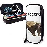 Demostración Badger Cute Pen Estuche para lápices Cuero Gran capacidad Cremalleras dobles Bolso para lápices Bolsa Estuche para lápices 20cm * 9cm * 4cm