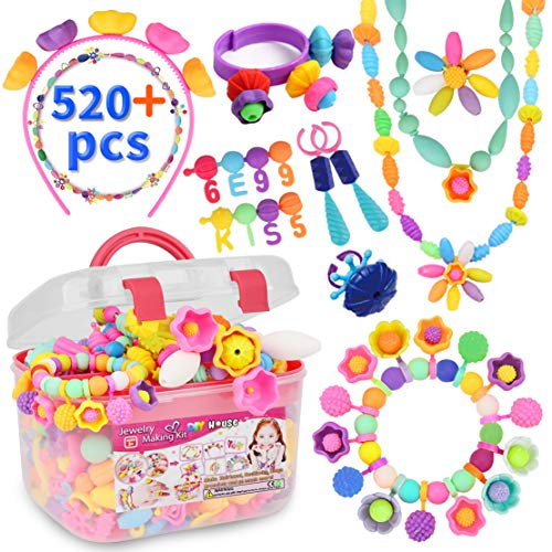 520pcs Pop Beads Childrens Arts and Crafts Gift Present for Girls Age 3, 4, 5, 6, 7 Year Old Childrens Jewellery Jewelry Making Kit for Toddlers Kids Pop Snap Beads Set DIY Bracelets Necklace Rings