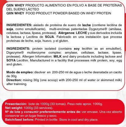 QXN New 100% Isolate 1Kg | Suplemento Deportivo con Aislado ...