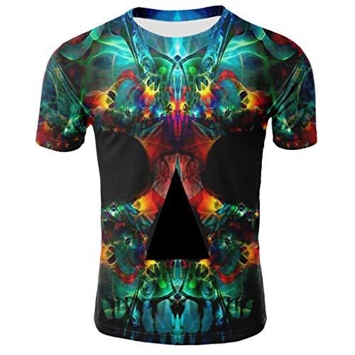Herren T-Shirt Creative 3D Schädel Drucken Kurzarm Sport Rundhals Tee Spaß Motiv Tops Freizeit Mehrfarbig Kurzarmshirt BG68