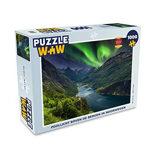 MuchoWow Puzzle 1000 Teile - Nordlicht - Aurora Borealis über Bergen in Norwegen - Puzzle für Erwachsene 1000 Teile Jigsaw Puzzle 68x48 cm