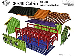 Mortise and Tenon Timber Frame Plans - 20x40 Cabin with 20x40 loft - Step-By-Step DIY Plans