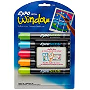 EXPO 1752226 Neon Dry Erase Markers, Bullet Tip, Assorted Colors, 5-Count