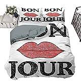 UNOSEKS LANZON - Funda de edredón de estilo vintage con texto en inglés 'Bon Jour' con labios femeninos, imagen francesa, bonita y versátil, color negro y rojo (203 x 230 cm)