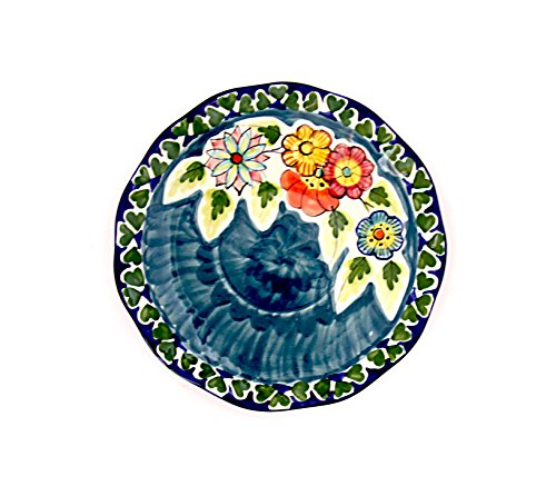 Handmade Ceramic Guambras Dinner Plates, Pottery Saucer 6.5 Inch Monteturi flores del campo, Microwave Dishwasher and oven Safe, Lead & Cadmium Free