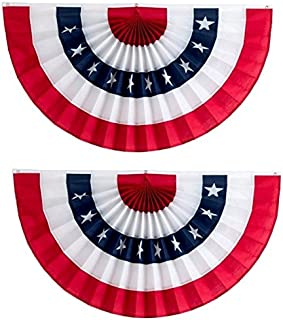 Independence Bunting – 2-Pack! 2' x 4' American Made Cotton Flag Bunting. Fully Sewn Stars & Stripes Patriotic Bunting Banner!