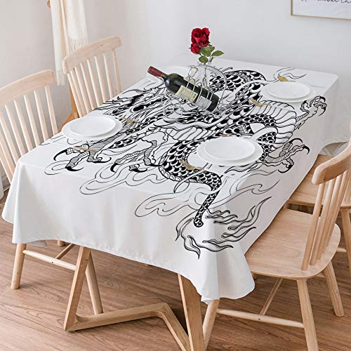 Tablecloth Rectangle Cotton Linen,Japanese Dragon,Sketch Artwork Style Ancient Mighty Figure with Cla,Waterproof Stain-Resistant Tablecloths Washable Table Cover for Kitchen Dinning Party (140x200 cm)