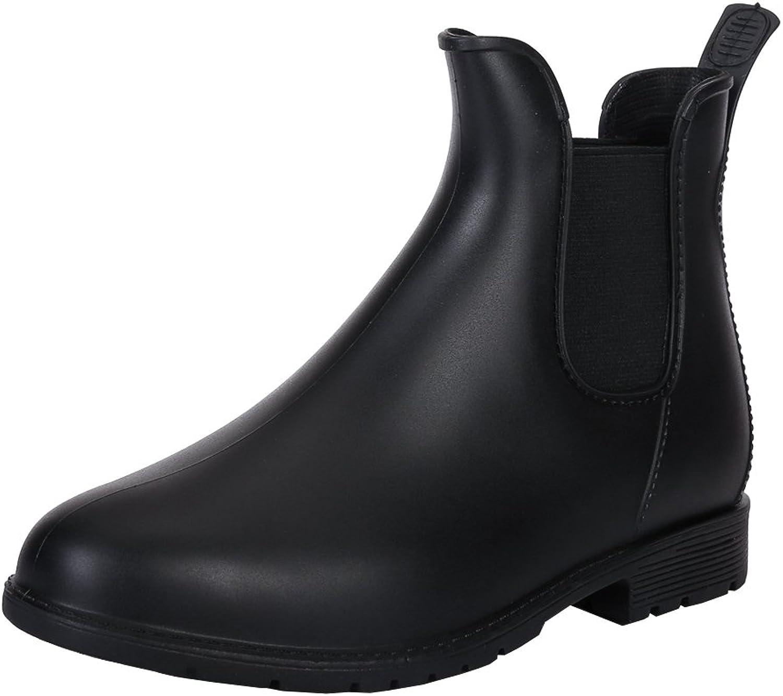 Fereshte Women's Short Ankle Rain Boots Waterproof Rubber Chelsea Booties