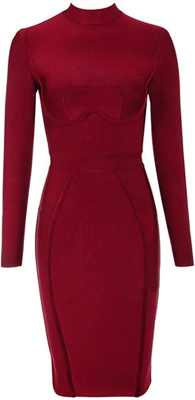 whoinshop Women's Classic Long Sleeve Bandage Bodycon Outfit Elegant Wedding Evening Party Knee Length Dresses