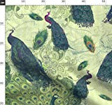 Pfauen, Vögel, Hellgrün, Lila, Petrol, Natur Stoffe -