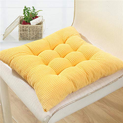 Solid Kitchen Chair Cushions Papasan Patio Seat Cushion Square Reversible Dining Chair Pads with Ties Couch Pad Set of 2 Indoor/Outdoor 15 Inch Yellow
