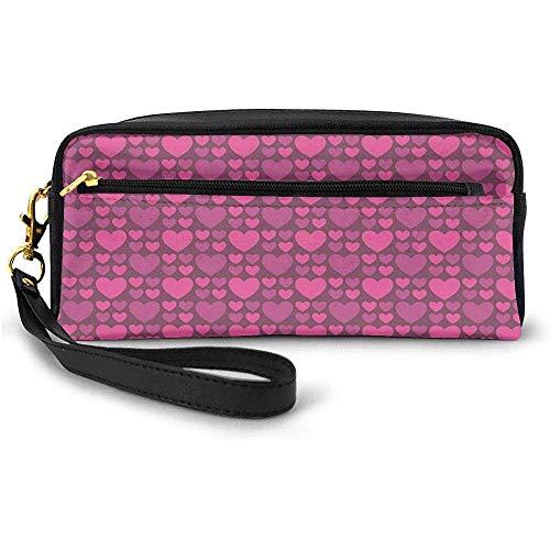Simplista Love and Glamor Inspirado Big Little Heart Shapes Bolsa de Maquillaje pequeña con Cremallera Estuche de lápices 20cm * 5.5cm * 8.5cm