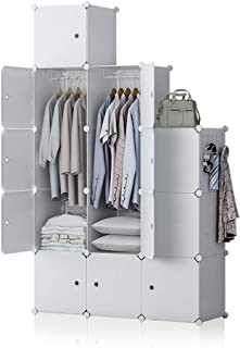 GEORGE&DANIS Portable Wardrobe Closet Plastic Dresser Bedroom Armoire DIY Cube Storage Organizer, White, 18 inches Depth, 3x5 Tiers Trapezoid