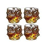 Juego de Jarras y Vasos de Whisky Vasos De Whisky Juego De 4 Vasos De Whisky Ultra Claridad Sin Plomo Pasada De Moda De Cristal, Vasos De Cristal For Bourbon, Cócteles, Whisky, Vodka, 330 Ml Beber