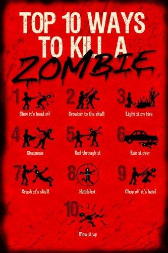Póster de 10 maneras de matar a un zombi de 12 x 18 cm