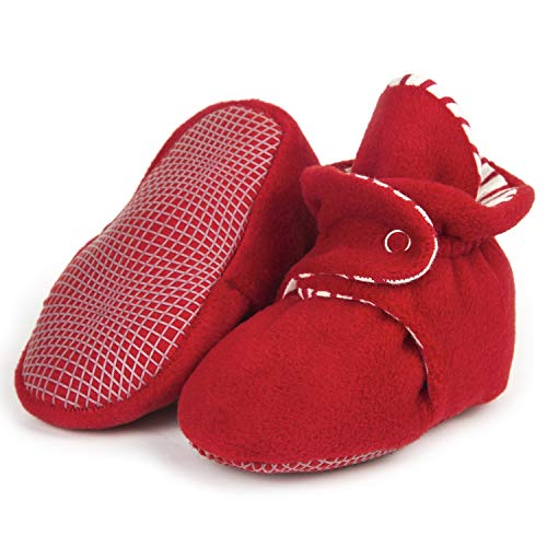 Ella Bonna Mini Fleece Booties with Non Skid Bottom | Flexible | For Baby Boys Girls Toddlers (18 Months, Red)