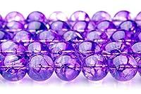 【福縁閣】クラック水晶(紫) 6mm 1連(約38cm)_R774-6 天然石 パワーストーン ビーズ