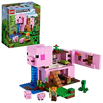 LEGO Minecraft The Pig House 21170 Minecraft Toy Featuring Alex a Creeper and a House Shaped Like a Giant Pig New 2021  490 Pieces