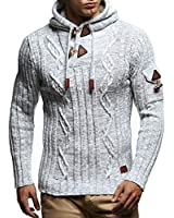 Leif Nelson LN5400 Men's Knitted Pullover With Cozy Hood,Ecru Grey,US-S / EU-M