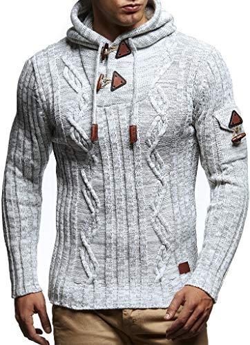 Leif Nelson LN5400 Men's Knitted Pullover With Cozy Hood,Ecru Grey,US-XL / EU-XXL