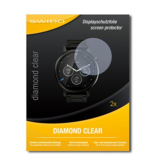 SWIDO 2 x Bildschirmschutzfolie Motorola Moto 360 (2015) 46mm Schutzfolie Folie DiamondClear unsichtbar