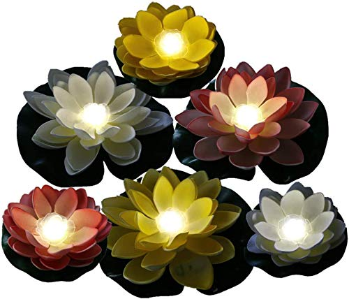 ARDUX 6Pcs Artificial Color Changing Floating Foam Lotus Flower,Water Floating LED Lily Light for Party Centerpieces, Ponds, Pools, Fish Tank, Landscape Landscaping (White)