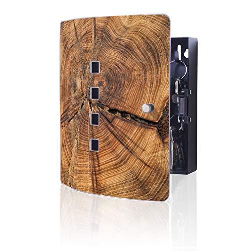 banjado Design Schlüsselkasten aus Edelstahl | 10 Haken für Schlüssel | praktischer Magnetverschluss | 24x21,5cm Motiv Jahresringe